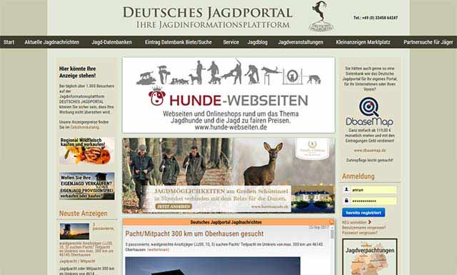 CMS Website for the largest hunting online portal in Germany including database